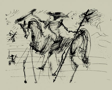 Symbolic image of Don Quixote and his horse...