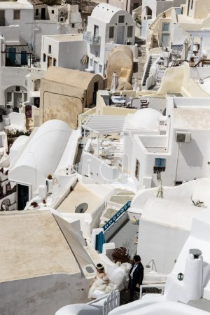 The white town of Oia (Ia) in Santorini (Thera) - The Cyclades in Greece