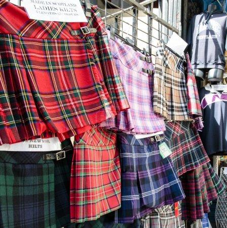 Photo for Scottish kilts for sale in Edinburgh - Scotland - UK - Royalty Free Image