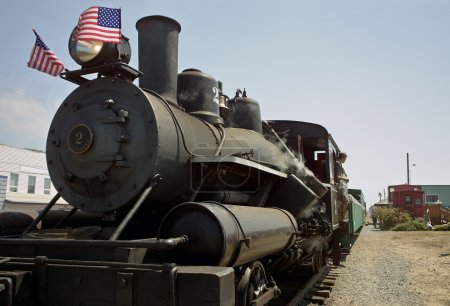 Train Engine With Flags