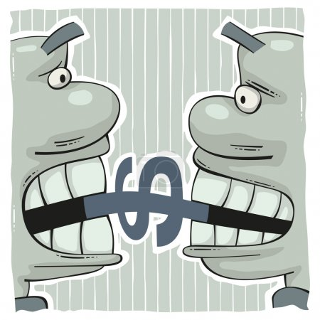 Illustration for Conflict of two greedy men biting a dollar sign with big teeth - Royalty Free Image