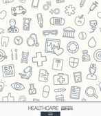 Healthcare wallpaper Medical seamless pattern Tiling textures with thin line web icons set Vector illustration Abstract health care and medicine background for mobile app website presentation