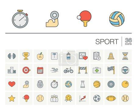 Illustration pour Ensemble d'icônes vectorielles à lignes fines et éléments graphiques. Illustration avec des symboles de contour de sport et de fitness. Balle, match, médaille de coupe, trophée, football, pictogramme de volley-ball . - image libre de droit