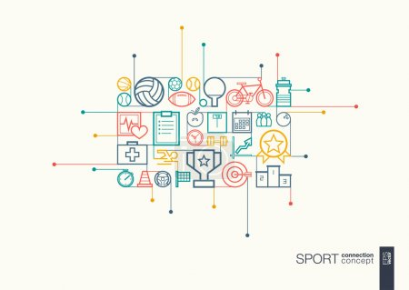 Illustration for Sport integrated thin line symbols. Modern color vector concept, with connected flat design icons. Abstract background illustration for training, tennis, bicycle, soccer, rugby, fitness concept - Royalty Free Image