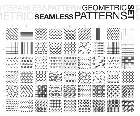 Illustration for Black and white geometric seamless patterns. Thin line monochrome tiling textures set. Vector illustration. - Royalty Free Image