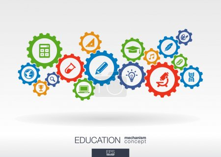 Illustration for Education mechanism concept. Abstract background with connected gears and icons for elearning, knowledge, learn, analytics, network, social media and global concepts. Vector infographic illustration - Royalty Free Image