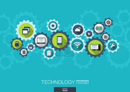 Illustration for Technology mechanism concept. Abstract background with integrated gears and icons for digital, internet, network, connect, social media and global concepts. Vector infograph illustration. Flat design - Royalty Free Image