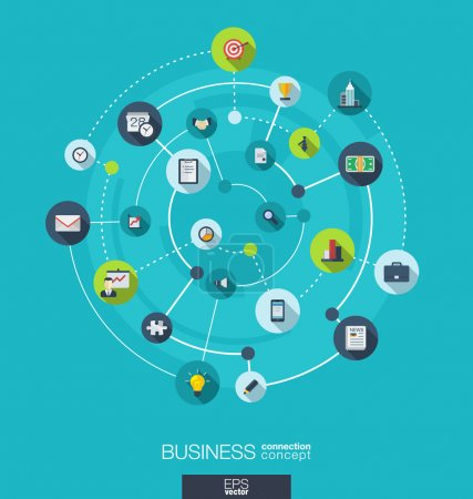 Illustration for Business connection concept. Abstract background with integrated circles and icons for strategy, service, analytics, research, digital marketing concepts. Vector infographic illustration. Flat design - Royalty Free Image