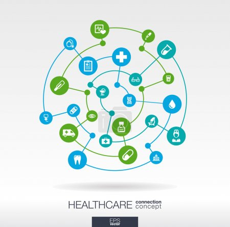 Photo for Healthcare connection concept. Abstract background with integrated circles and icons for medical, health, care, medicine, network and global concepts. Vector infographic illustration. Flat design - Royalty Free Image