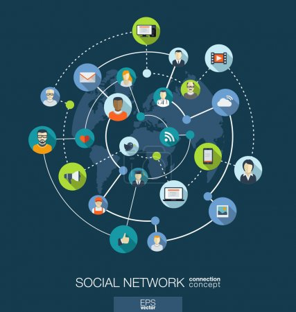 Photo for Social network connection concept. Abstract background with integrated circles and icons for digital, internet, media, connect, technology, global concepts. Vector infograph illustration. Flat design - Royalty Free Image