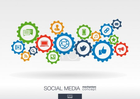 Illustration for Social media mechanism concept. Abstract background with integrated gears and icons for digital, internet, network, connect, communicate, technology, global concepts. Vector infographic illustration. - Royalty Free Image