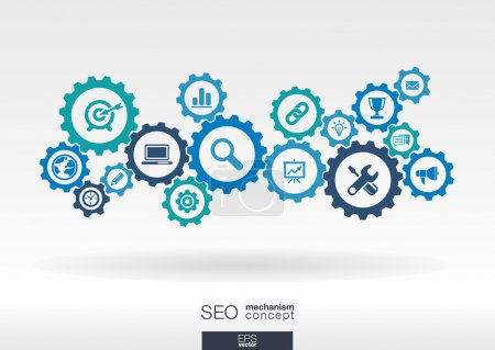 Illustration for SEO mechanism concept. Abstract background with integrated gears and icons for digital, internet, network, connect, analytics, social media and global concepts. Vector infographic illustration. - Royalty Free Image