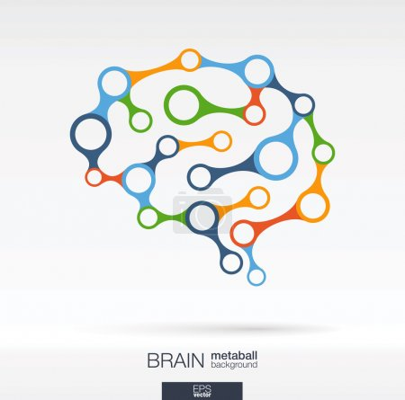 Illustration for Abstract color background with lines and integrated circles. Brain concept for communication, infographic, business, medical, social media, technology, network and web design. Vector illustration. - Royalty Free Image