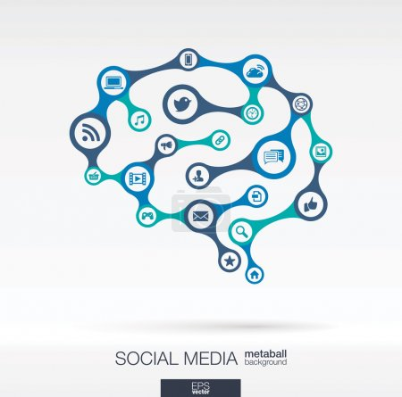Photo for Abstract background with lines and integrated circles. Brain concept for social media, infographic, business, medical, social media, technology, network and web design. Vector illustration. - Royalty Free Image