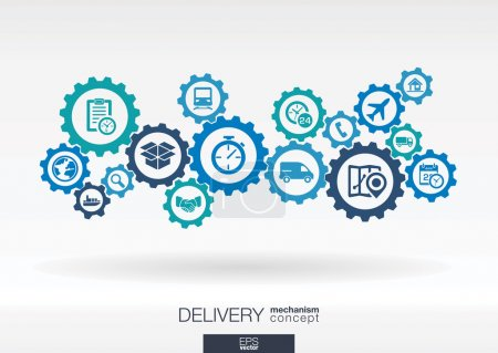 Photo for Delivery mechanism concept. Abstract background with connected gears and icons for logistic, service, shipping, distribution, transport, market, communicate concepts. Vector interactive illustration - Royalty Free Image