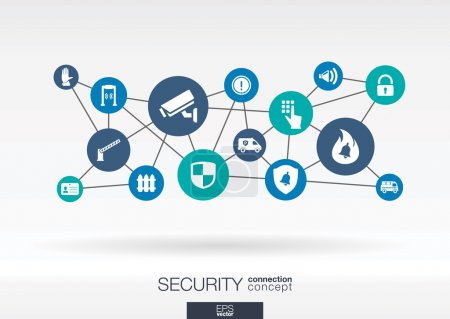 Security network flat icons.
