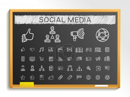Social media hand drawing line icons. Vector doodl...