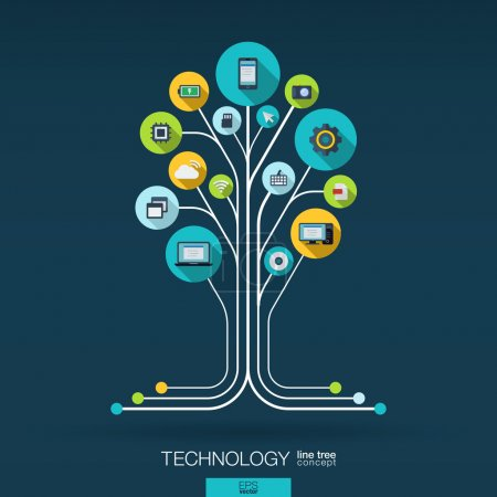 Photo for Abstract technology background with lines, connected circles, integrated flat icons. Growth tree (circuit) concept with technology, cloud computing and router icons. Vector interactive illustration. - Royalty Free Image