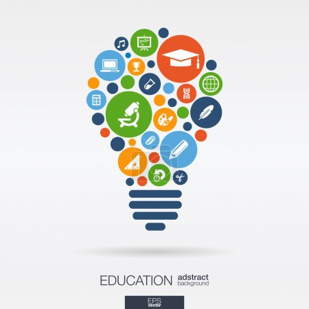 Illustration for Color circles, flat icons in a bulb shape: education, school, science, knowledge, elearning concepts. Abstract background with connected objects in integrated group of elements. Vector illustration. - Royalty Free Image