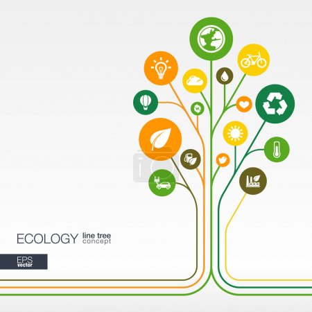 Illustration for Abstract ecology background with connected circles, integrated flat icons. Growth flower concept with eco, earth, green, recycling, nature, sun, car and home icon. Vector interactive illustration. - Royalty Free Image