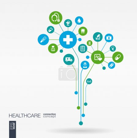 Illustration for Abstract medicine background with lines, connected circles, integrated flat icons. Growth flower concept with medical, health, care, thermometer and cross icon. Vector interactive illustration. - Royalty Free Image