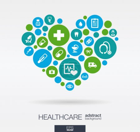 Photo for Color circles with flat icons in a heart shape: medicine, medical, health, cross, healthcare concepts. Abstract background with connected objects in integrated group of elements. Vector illustration. - Royalty Free Image