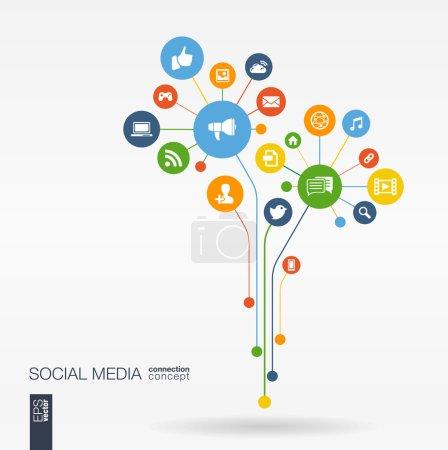 Illustration pour Les médias sociaux abstrait avec des lignes, des cercles connectés, icônes plats intégrés. Croissance fleur concept avec réseau, informatique, technologie, icône de bulle de discours. Interactive illustration vectorielle - image libre de droit