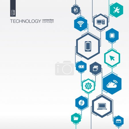 Illustration for Technology network. Hexagon abstract background with lines, integrate flat icons. Connected symbols for digital, connect, communicate, social media and global concepts. Vector interactive illustration - Royalty Free Image