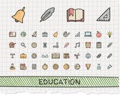 Education hand drawing line icons.