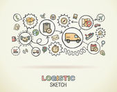 Logistic hand draw integrated icons