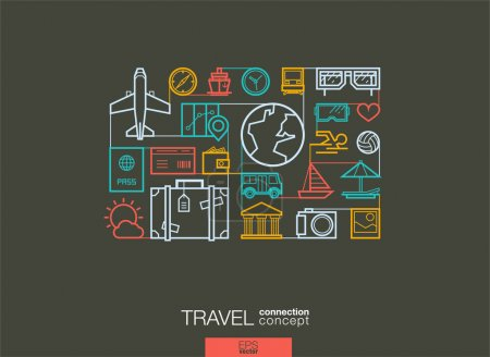 Illustration for Travel integrated thin line symbols. Modern linear style vector concept, with connected flat design icons. Abstract background illustration for tourism, holiday, trip, summer, vacation concepts. - Royalty Free Image