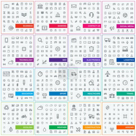 Photo for Vector illustration of thin line icons for business, banking, contact, social media, technology, seo, logistic, education, sport, medicine, travel, weather, construction, arrow. Linear symbols set. - Royalty Free Image