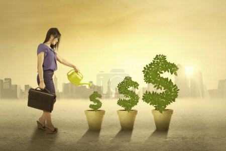 Photo for Portrait of businesswoman watering the money trees in the morning to keep the growth - Royalty Free Image