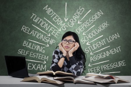 Photo for Portrait of female high school student thinking about her problems when studying - Royalty Free Image