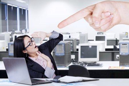 Female entrepreneur getting intimidation