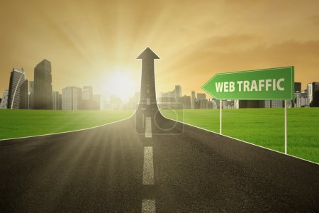 Highway with web traffic text