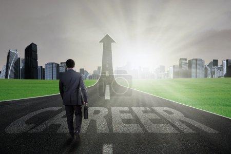 Entrepreneur walking on the right career path