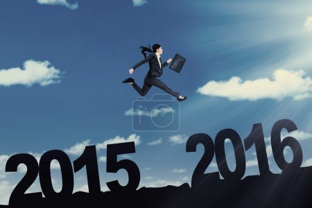Woman with briefcase leaps on the air
