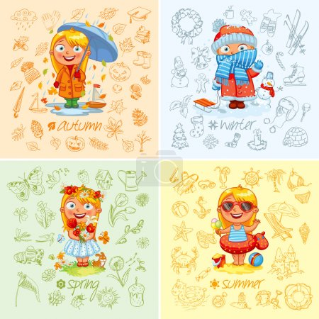 Illustration for Baby girl and the four seasons. Freehand drawing autumn, winter, spring, summer items on a sheet of exercise book. Vector illustration. Set - Royalty Free Image
