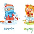 Baby girl and the four seasons. Vector illustratio...
