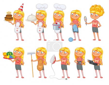 Photo for Baby girl stands in same pose and holds a various objects. Parts of body template for design work and animation. Funny cartoon character. Vector illustration. Isolated on white background. Set - Royalty Free Image