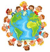 Den země. Roztomilý malý děti. Vektorové ilustrace
