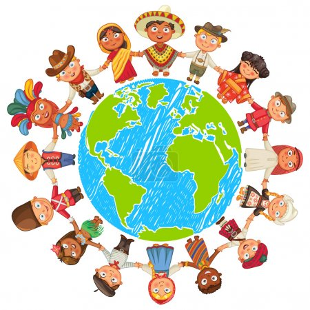 Illustration for Nationalities. Different culture standing together holding hands. Unity children from around the world. Vector illustration. Isolated on white background. Earth day. Set - Royalty Free Image
