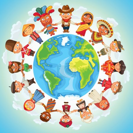 Illustration for Multicultural character on planet earth cultural diversity traditional folk costumes. Different culture standing together holding hands. Unity people from around the world. Vector illustration - Royalty Free Image