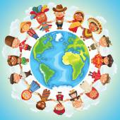 Multicultural character on planet earth cultural diversity traditional folk costumes Different culture standing together holding hands Unity people from around the world Vector illustration