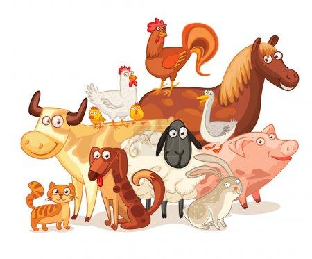 Illustration pour Animaux de la ferme, posant ensemble. Drôle de personnage de dessin animé. Illustration vectorielle. Isolé sur fond blanc. Ensemble - image libre de droit
