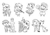 Hobbies and interests Ballet studio music school theater workshop school of fine arts sculpture studio Funny cartoon character Vector illustration Coloring book Set