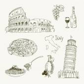 Freehand drawing Italy items on a sheet of exercise book Leaning Tower of Pisa Coliseum Vector illustration Isolated on white background