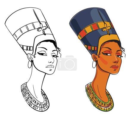 Nefertiti. Vector illustration. Isolated on white ...