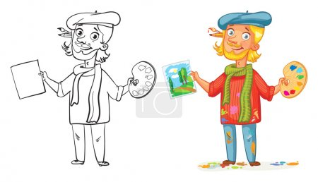 Illustration for Artist with a palette and paint a picture. Funny cartoon character. Vector illustration. Isolated on white background. Coloring book. Color and black and white image - Royalty Free Image